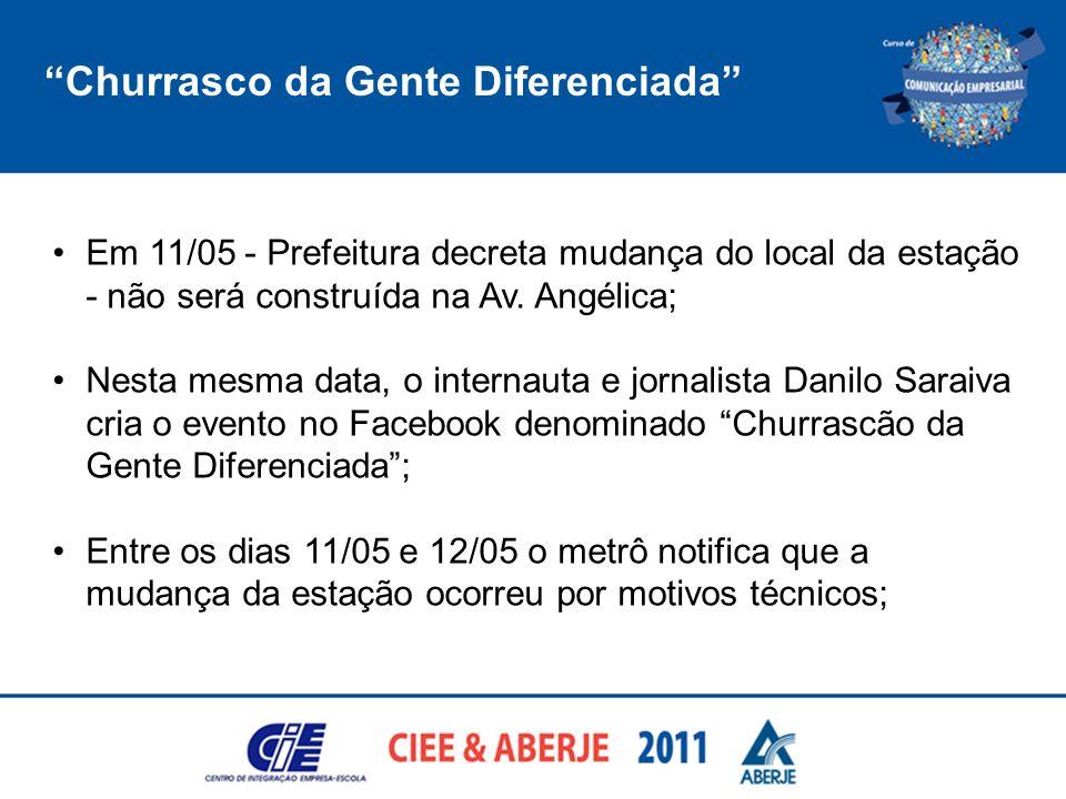 Churrasco da Gente Diferenciada Em 11/05 - Prefeitura decreta mudança do local da estação - não será construída na Av. Angélica; Nesta mesma data, o i