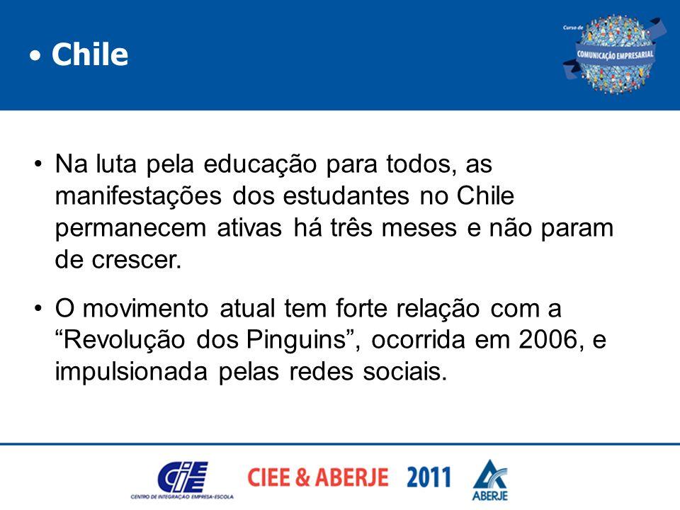 Chile Na luta pela educação para todos, as manifestações dos estudantes no Chile permanecem ativas há três meses e não param de crescer. O movimento a