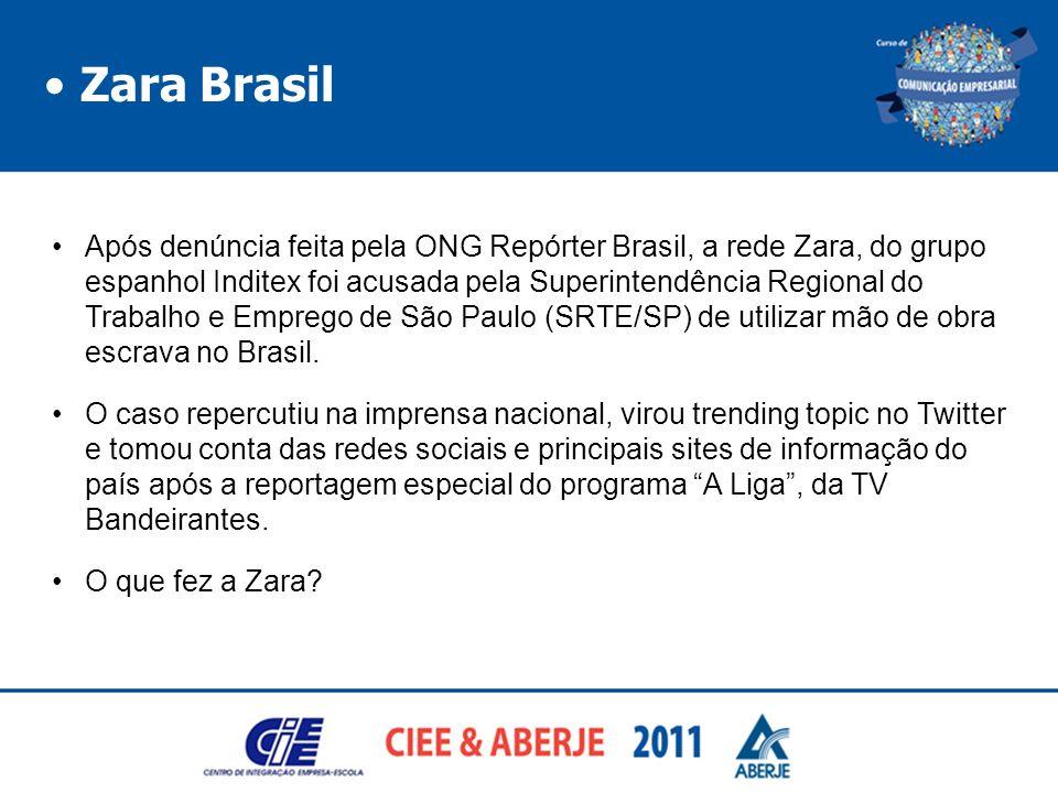 Zara Brasil Após denúncia feita pela ONG Repórter Brasil, a rede Zara, do grupo espanhol Inditex foi acusada pela Superintendência Regional do Trabalh