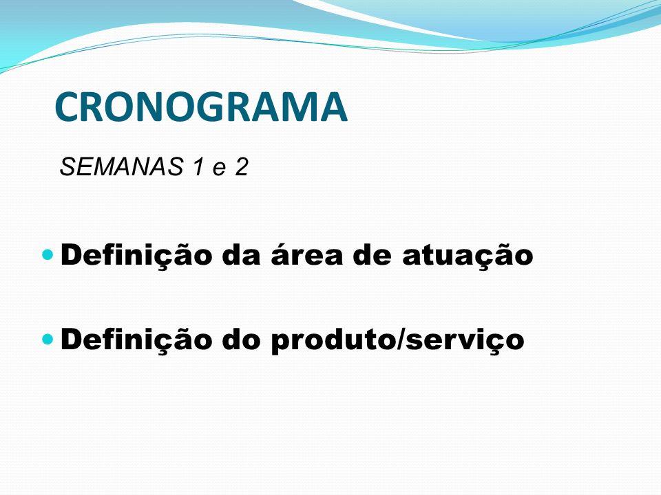 CRONOGRAMA SEMANAS 1 e 2 Definição da área de atuação Definição do produto/serviço