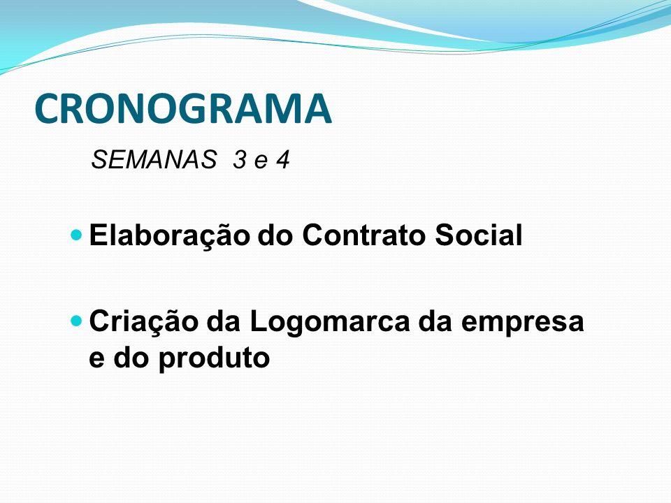 CRONOGRAMA SEMANAS 3 e 4 Elaboração do Contrato Social Criação da Logomarca da empresa e do produto