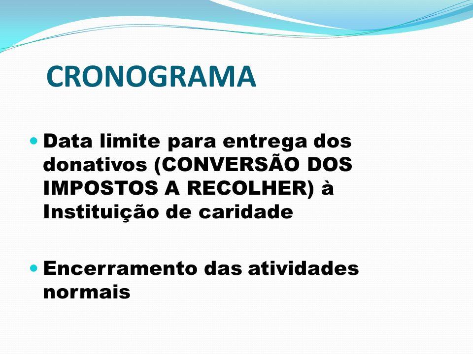 CRONOGRAMA Data limite para entrega dos donativos (CONVERSÃO DOS IMPOSTOS A RECOLHER) à Instituição de caridade Encerramento das atividades normais