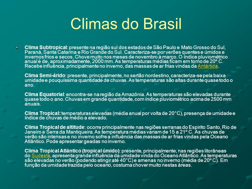 Climas do Brasil Clima Subtropical: presente na região sul dos estados de São Paulo e Mato Grosso do Sul, Paraná, Santa Catarina e Rio Grande do Sul.