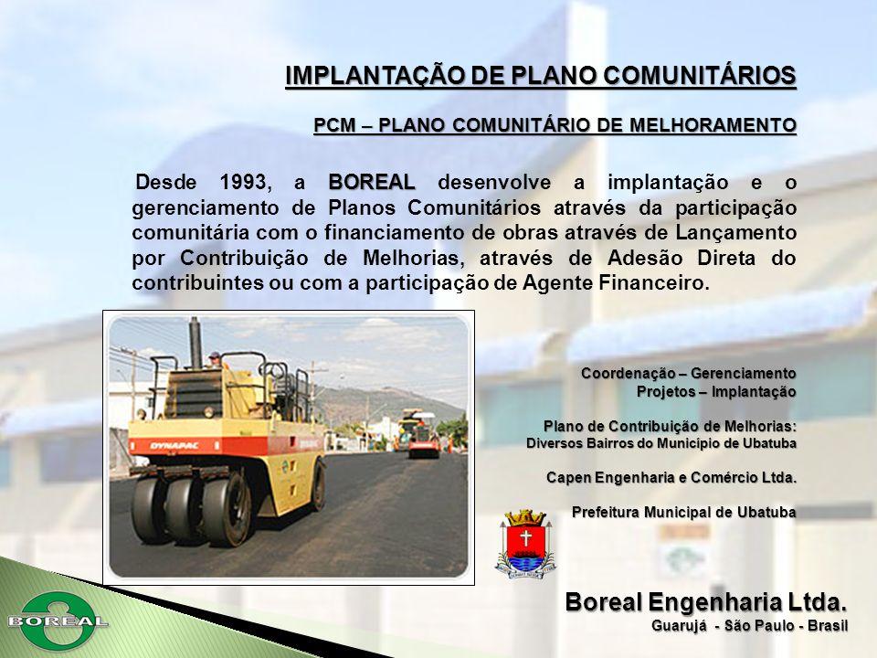 Boreal Engenharia Ltda. Guarujá - São Paulo - Brasil IMPLANTAÇÃO DE PLANO COMUNITÁRIOS PCM – PLANO COMUNITÁRIO DE MELHORAMENTO BOREAL Desde 1993, a BO