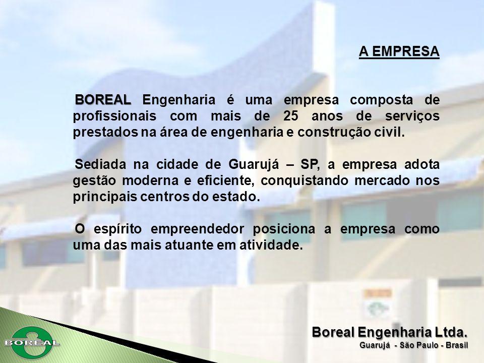 Boreal Engenharia Ltda. Guarujá - São Paulo - Brasil A EMPRESA BOREAL BOREAL Engenharia é uma empresa composta de profissionais com mais de 25 anos de
