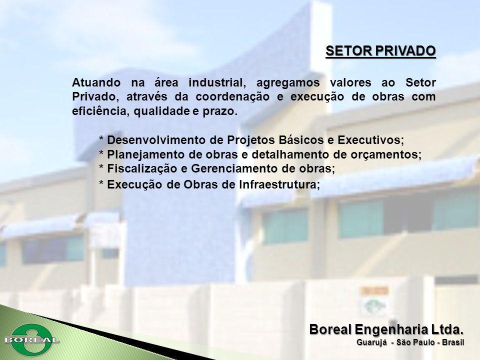 Boreal Engenharia Ltda. Guarujá - São Paulo - Brasil SETOR PRIVADO Atuando na área industrial, agregamos valores ao Setor Privado, através da coordena