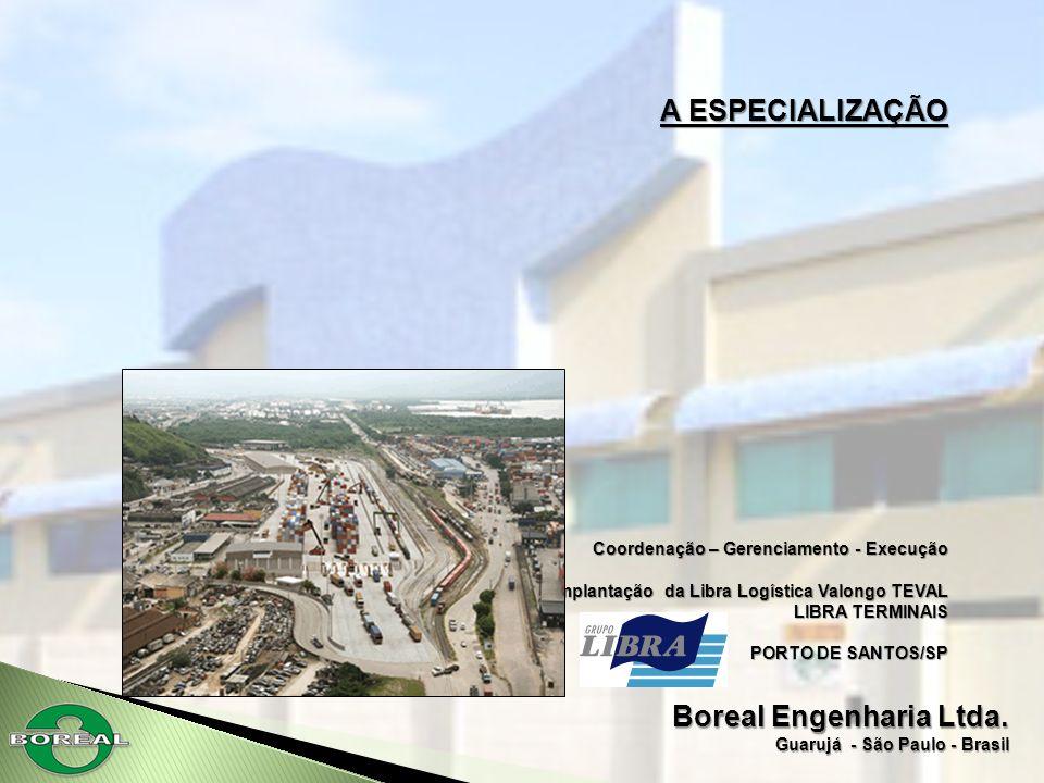 Boreal Engenharia Ltda. Guarujá - São Paulo - Brasil A ESPECIALIZAÇÃO Coordenação – Gerenciamento - Execução Implantação da Libra Logística Valongo TE