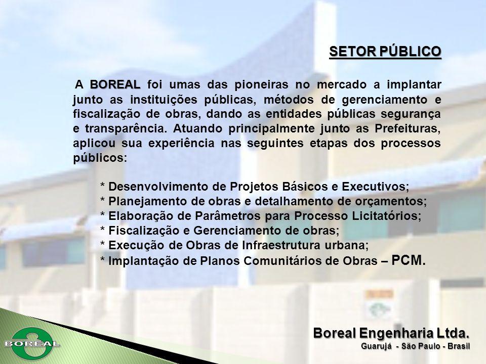 Boreal Engenharia Ltda. Guarujá - São Paulo - Brasil SETOR PÚBLICO BOREAL A BOREAL foi umas das pioneiras no mercado a implantar junto as instituições