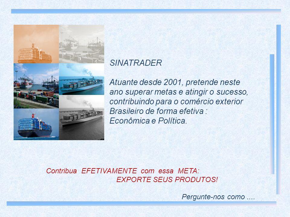 SINATRADER Atuante desde 2001, pretende neste ano superar metas e atingir o sucesso, contribuindo para o comércio exterior Brasileiro de forma efetiva : Econômica e Política.