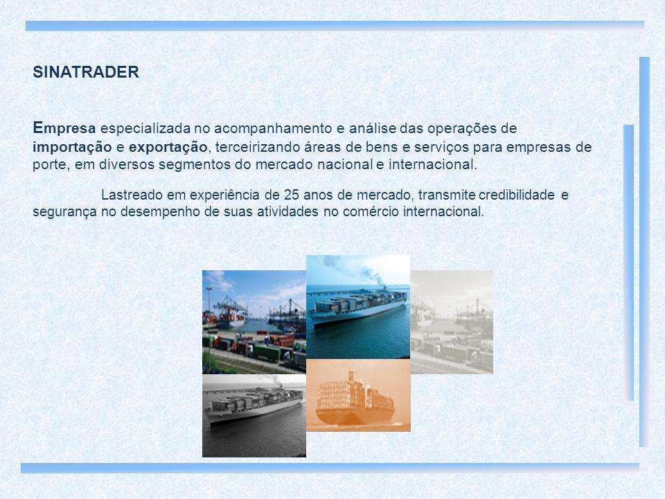 SINATRADER E mpresa especializada no acompanhamento e análise das operações de importação e exportação, terceirizando áreas de bens e serviços para empresas de porte, em diversos segmentos do mercado nacional e internacional.