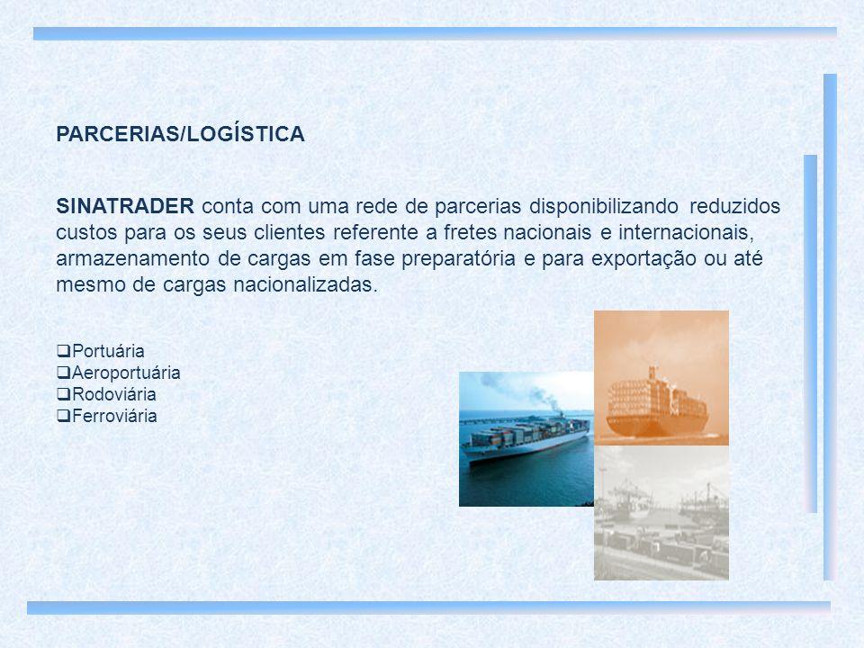 PARCERIAS/LOGÍSTICA SINATRADER conta com uma rede de parcerias disponibilizando reduzidos custos para os seus clientes referente a fretes nacionais e internacionais, armazenamento de cargas em fase preparatória e para exportação ou até mesmo de cargas nacionalizadas.