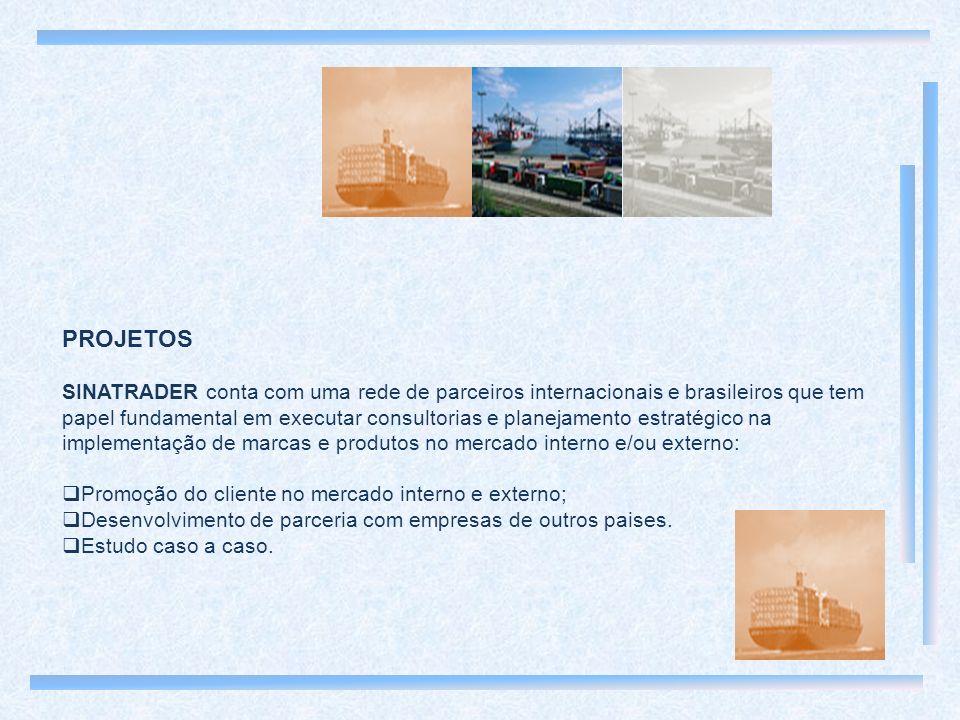 PROJETOS SINATRADER conta com uma rede de parceiros internacionais e brasileiros que tem papel fundamental em executar consultorias e planejamento estratégico na implementação de marcas e produtos no mercado interno e/ou externo: Promoção do cliente no mercado interno e externo; Desenvolvimento de parceria com empresas de outros paises.