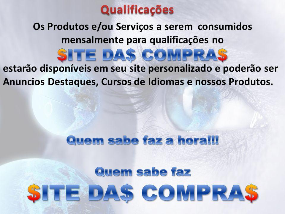 Os Produtos e/ou Serviços a serem consumidos mensalmente para qualificações no estarão disponíveis em seu site personalizado e poderão ser Anuncios De