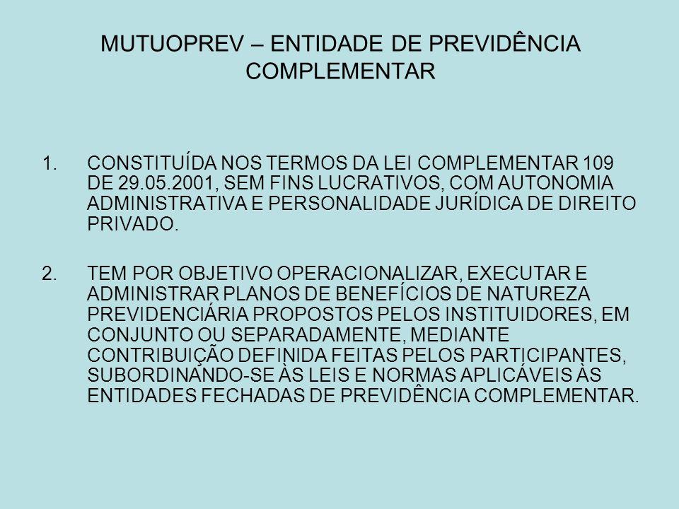 MUTUOPREV – ENTIDADE DE PREVIDÊNCIA COMPLEMENTAR 1.CONSTITUÍDA NOS TERMOS DA LEI COMPLEMENTAR 109 DE 29.05.2001, SEM FINS LUCRATIVOS, COM AUTONOMIA ADMINISTRATIVA E PERSONALIDADE JURÍDICA DE DIREITO PRIVADO.