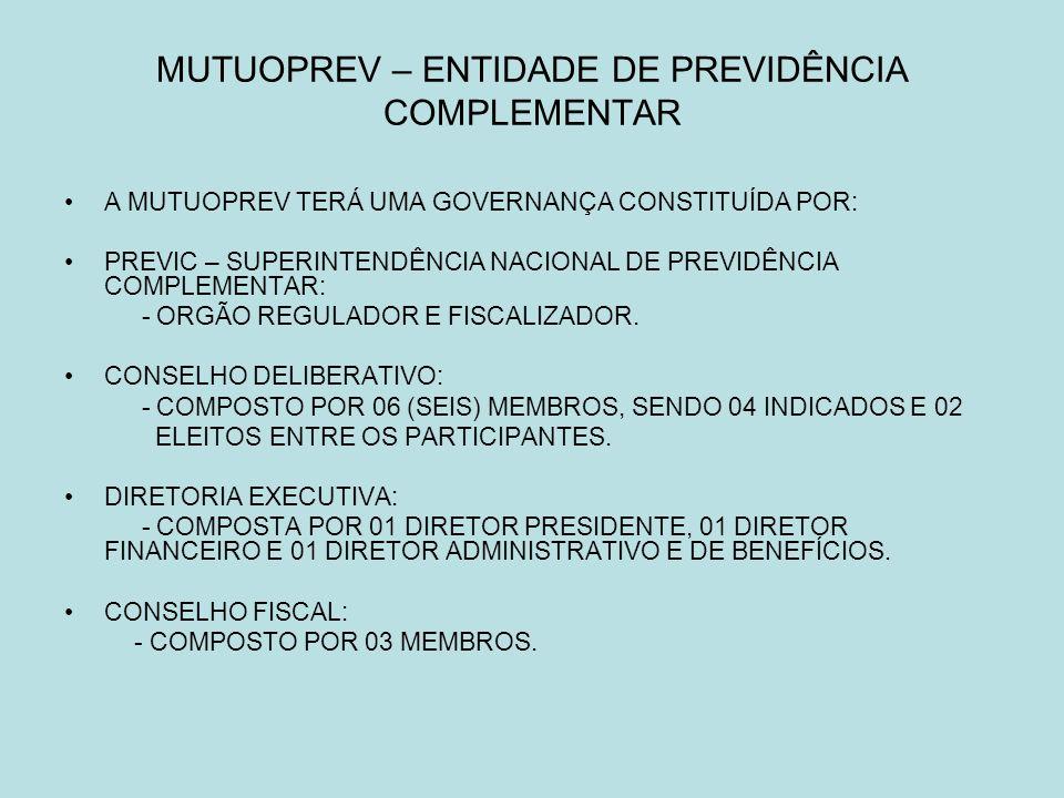 MUTUOPREV – ENTIDADE DE PREVIDÊNCIA COMPLEMENTAR A MUTUOPREV TERÁ UMA GOVERNANÇA CONSTITUÍDA POR: PREVIC – SUPERINTENDÊNCIA NACIONAL DE PREVIDÊNCIA COMPLEMENTAR: - ORGÃO REGULADOR E FISCALIZADOR.