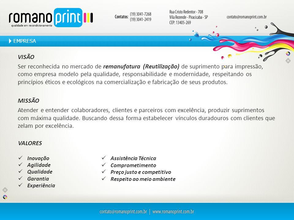VISÃO Ser reconhecida no mercado de remanufatura (Reutilização) de suprimento para impressão, como empresa modelo pela qualidade, responsabilidade e m