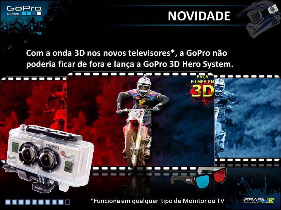 NOVIDADE Com a onda 3D nos novos televisores*, a GoPro não poderia ficar de fora e lança a GoPro 3D Hero System.