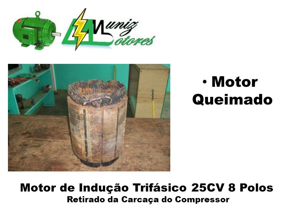 Motor de Indução Trifásico 25CV 8 Polos Retirado da Carcaça do Compressor Chapas Magnéticas Avariadas