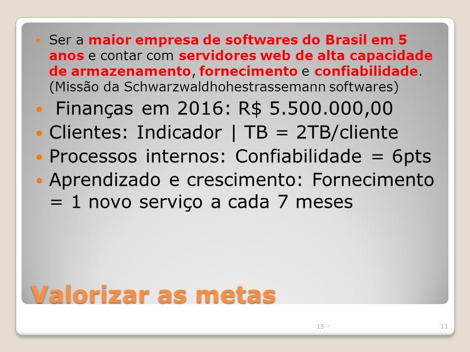 Valorizar as metas Ser a maior empresa de softwares do Brasil em 5 anos e contar com servidores web de alta capacidade de armazenamento, fornecimento