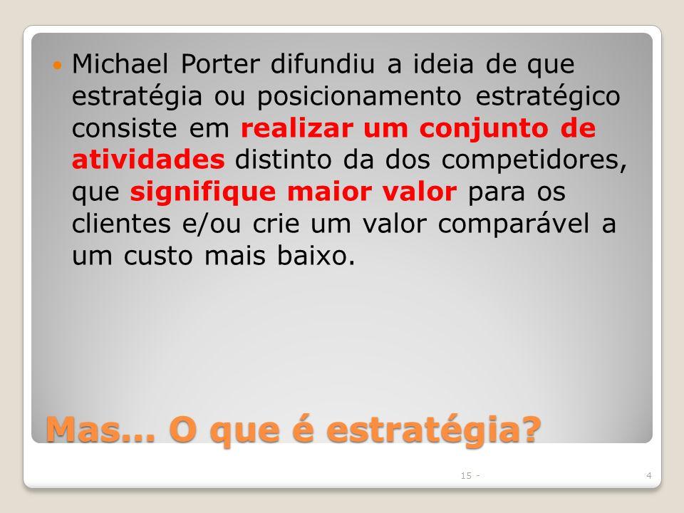 Mas... O que é estratégia? Michael Porter difundiu a ideia de que estratégia ou posicionamento estratégico consiste em realizar um conjunto de ativida