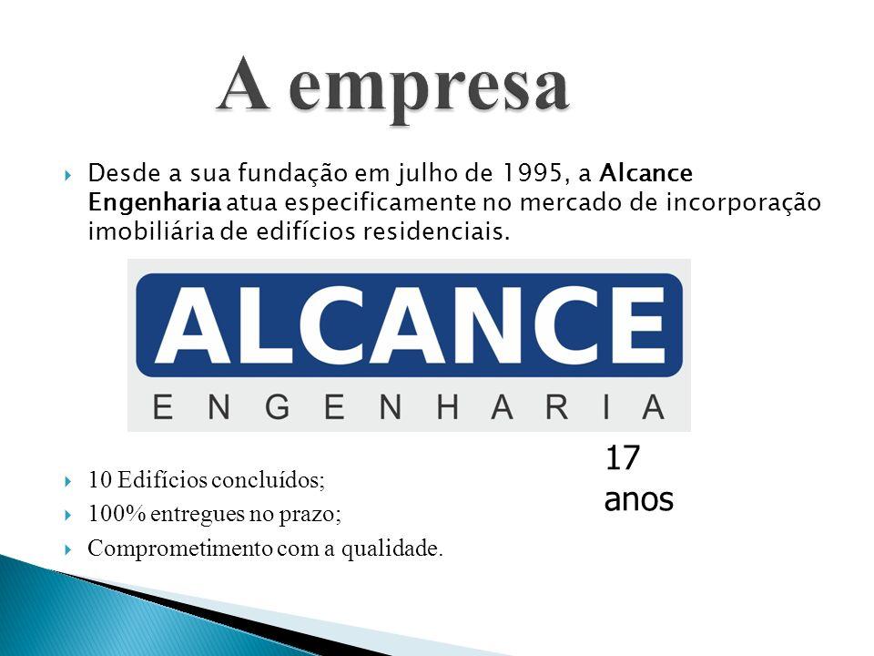 Desde a sua fundação em julho de 1995, a Alcance Engenharia atua especificamente no mercado de incorporação imobiliária de edifícios residenciais. 10