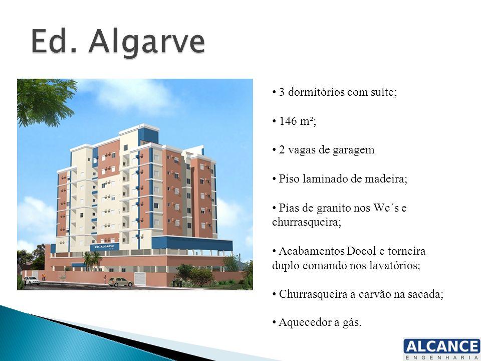 3 dormitórios com suíte; 146 m²; 2 vagas de garagem Piso laminado de madeira; Pias de granito nos Wc´s e churrasqueira; Acabamentos Docol e torneira d