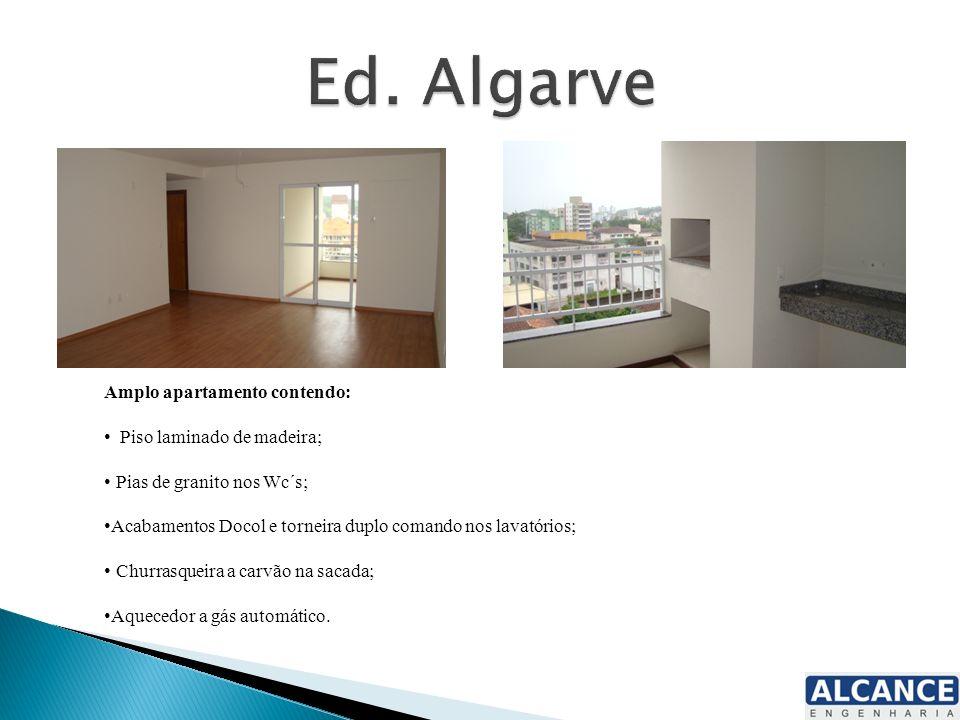 Amplo apartamento contendo: Piso laminado de madeira; Pias de granito nos Wc´s; Acabamentos Docol e torneira duplo comando nos lavatórios; Churrasquei