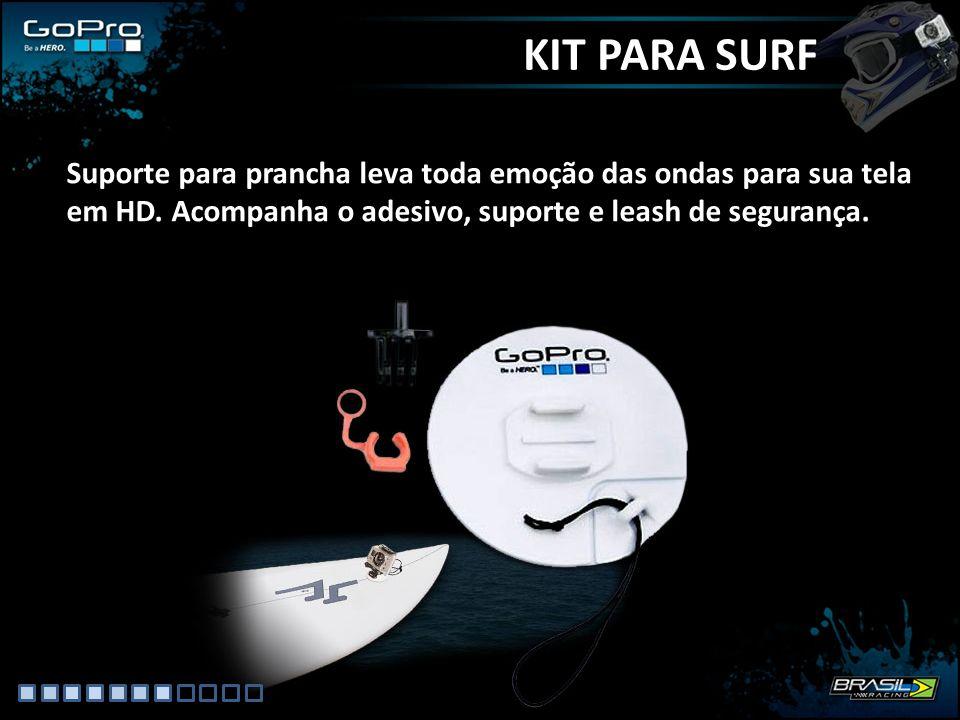 KIT PARA SURF Suporte para prancha leva toda emoção das ondas para sua tela em HD. Acompanha o adesivo, suporte e leash de segurança.