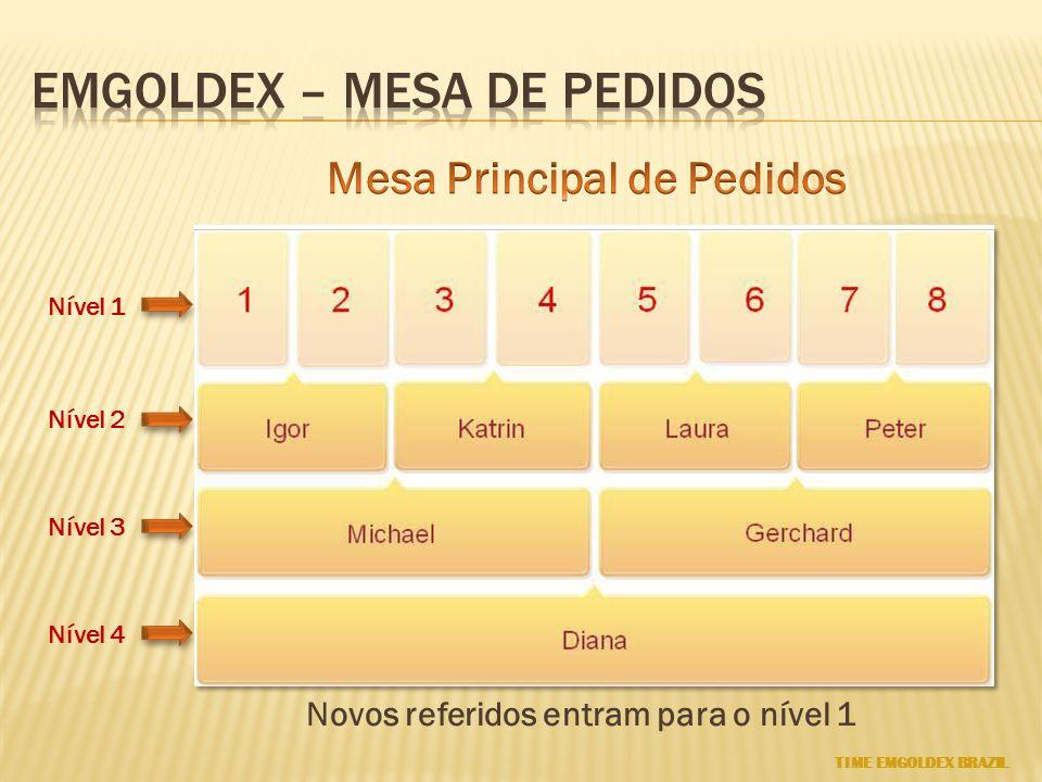 Nível 1 Nível 2 Nível 3 Nível 4 Novos referidos entram para o nível 1 TIME EMGOLDEX BRAZIL