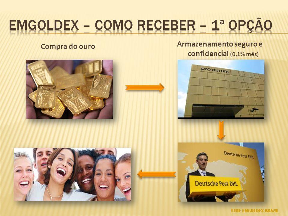 Compra do ouro Armazenamento seguro e confidencial (0,1% mês) TIME EMGOLDEX BRAZIL