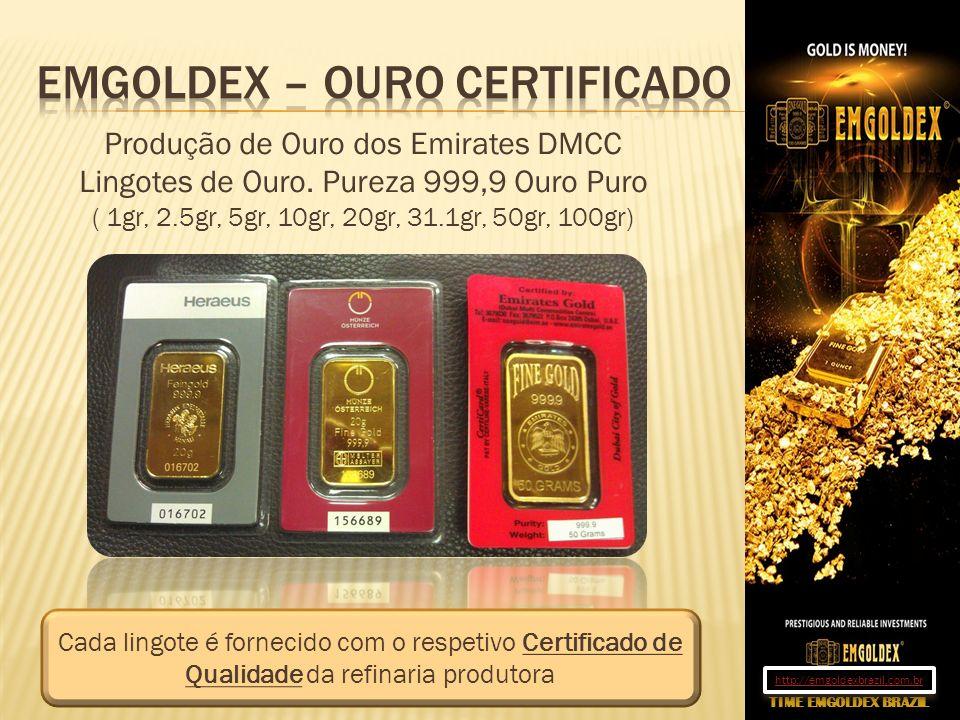 Produção de Ouro dos Emirates DMCC Lingotes de Ouro. Pureza 999,9 Ouro Puro ( 1gr, 2.5gr, 5gr, 10gr, 20gr, 31.1gr, 50gr, 100gr) Cada lingote é forneci