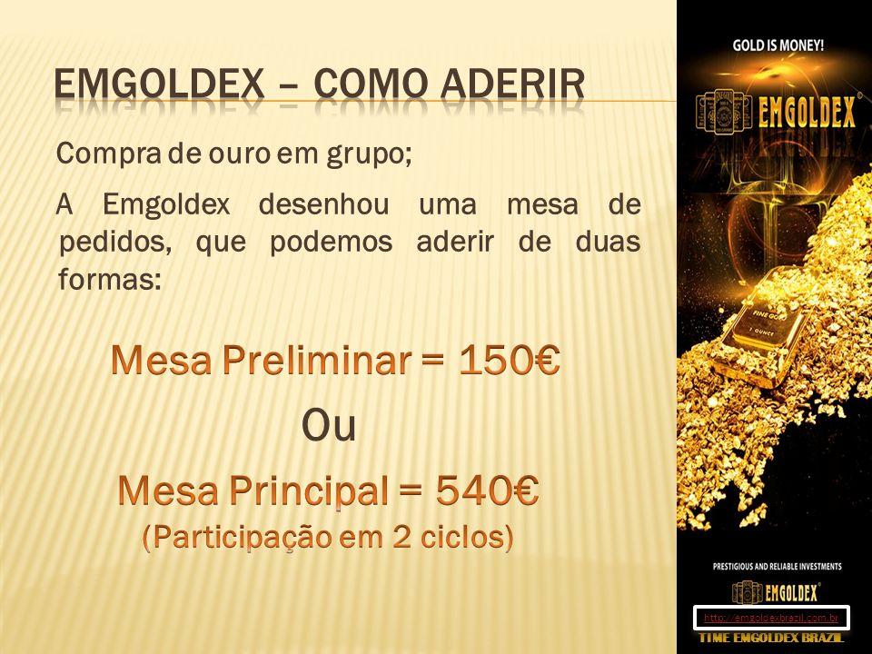 Compra de ouro em grupo; A Emgoldex desenhou uma mesa de pedidos, que podemos aderir de duas formas: Ou TIME EMGOLDEX BRAZIL http://emgoldexbrazil.com