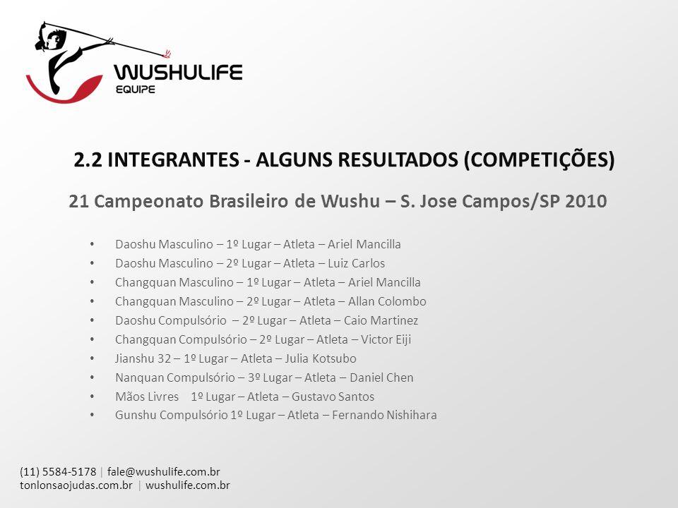 (11) 5584-5178 | fale@wushulife.com.br tonlonsaojudas.com.br | wushulife.com.br 2.2 INTEGRANTES - ALGUNS RESULTADOS (COMPETIÇÕES) 21 Campeonato Brasileiro de Wushu – S.