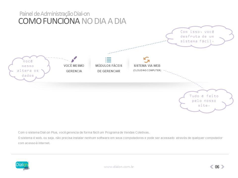 COMO FUNCIONA NO DIA A DIA VOCÊ MESMO GERENCIA MÓDULOS FÁCEIS DE GERENCIAR SISTEMA VIA WEB (CLOUDING COMPUTER) Com o sistema Dial-on Plus, você gerenc