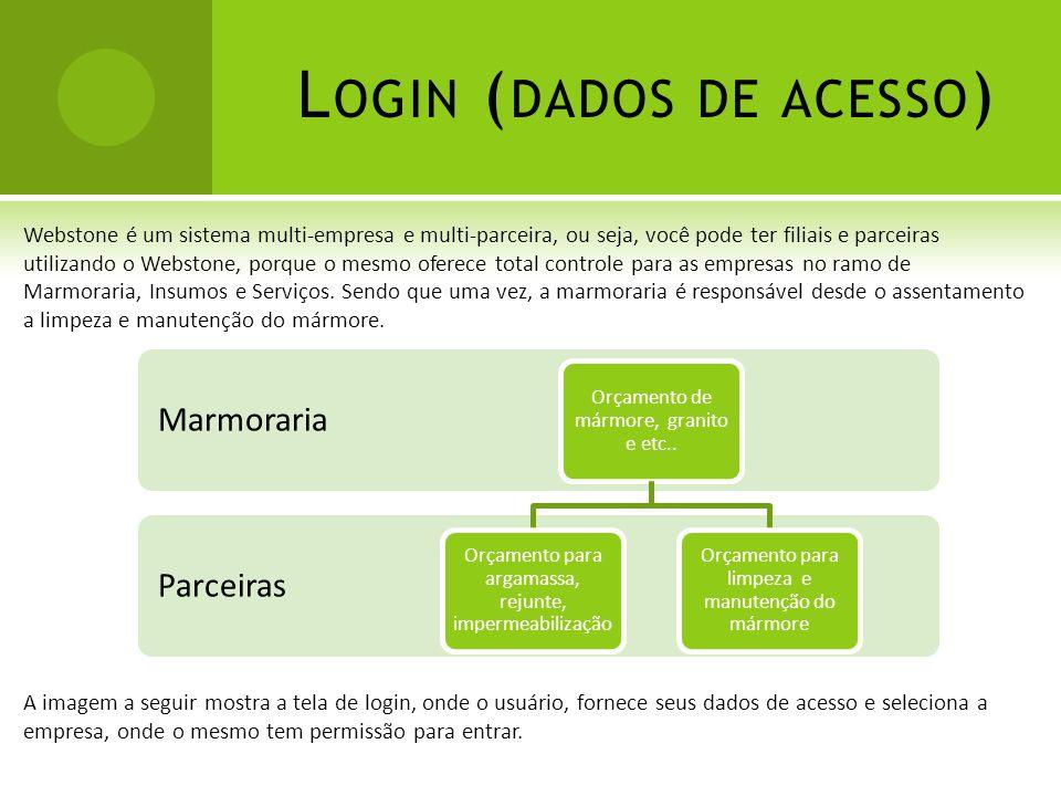 L OGIN ( DADOS DE ACESSO ) Webstone é um sistema multi-empresa e multi-parceira, ou seja, você pode ter filiais e parceiras utilizando o Webstone, por