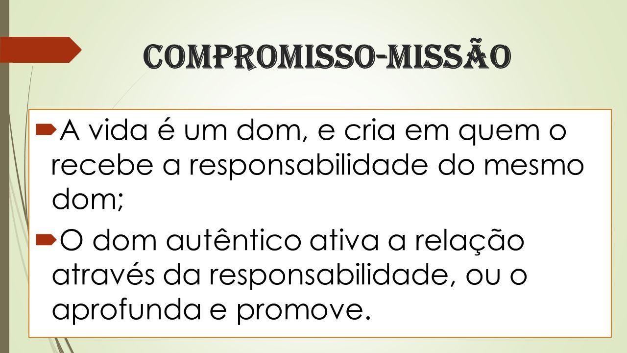 Compromisso-missão A vida é um dom, e cria em quem o recebe a responsabilidade do mesmo dom; O dom autêntico ativa a relação através da responsabilidade, ou o aprofunda e promove.