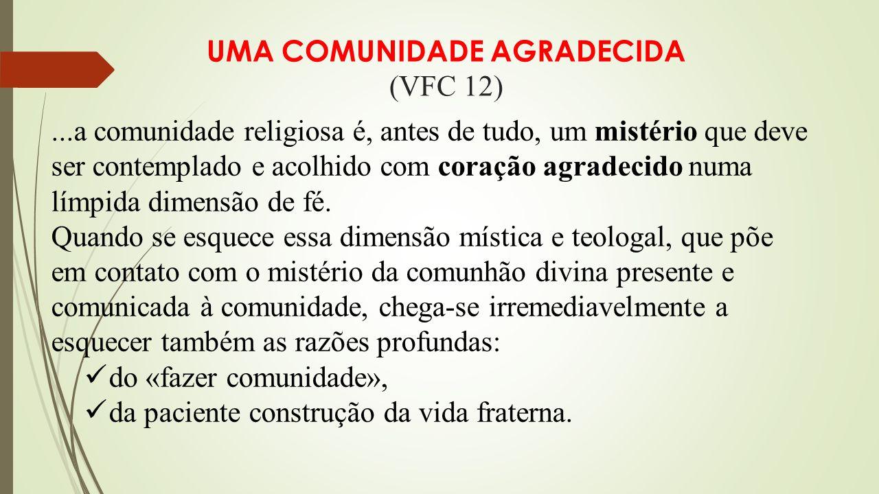 UMA COMUNIDADE AGRADECIDA (VFC 12)...a comunidade religiosa é, antes de tudo, um mistério que deve ser contemplado e acolhido com coração agradecido numa límpida dimensão de fé.