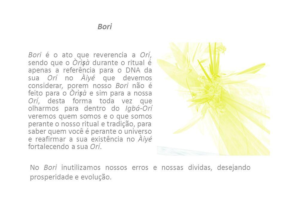 Bori Bori é o ato que reverencia a Orí, sendo que o Òrìà durante o ritual é apenas a referência para o DNA da sua Orí no Àiyé que devemos considerar,
