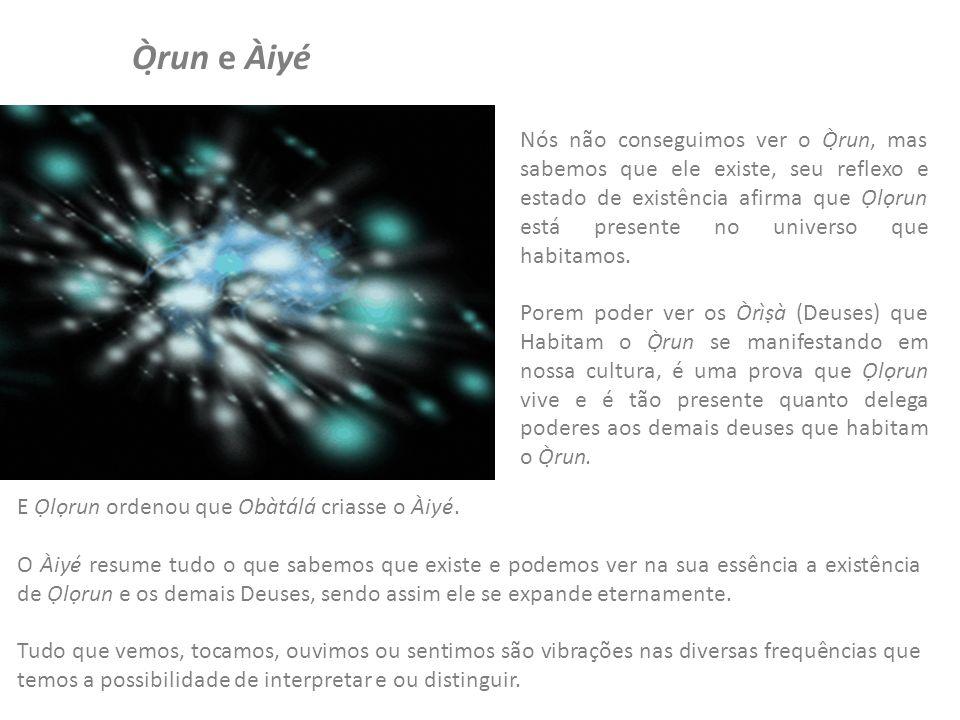 Ọ̀run e Àiyé Nós não conseguimos ver o Ọ̀run, mas sabemos que ele existe, seu reflexo e estado de existência afirma que lrun está presente no universo que habitamos.