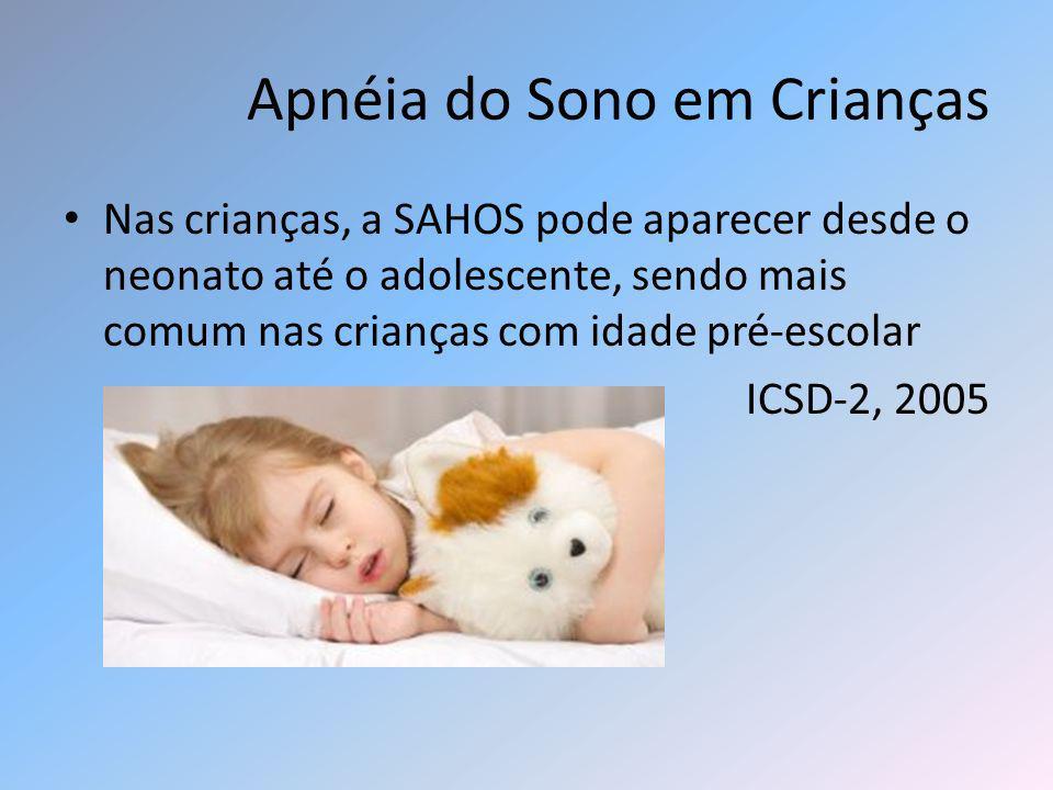 Apnéia do Sono em Crianças Nas crianças, a SAHOS pode aparecer desde o neonato até o adolescente, sendo mais comum nas crianças com idade pré-escolar
