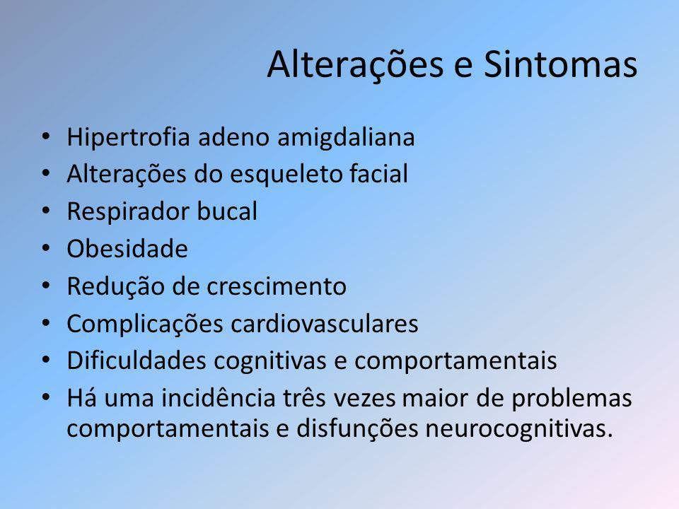 Alterações e Sintomas Hipertrofia adeno amigdaliana Alterações do esqueleto facial Respirador bucal Obesidade Redução de crescimento Complicações card