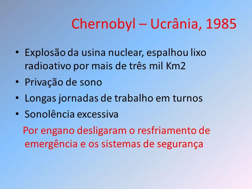 Chernobyl – Ucrânia, 1985 Explosão da usina nuclear, espalhou lixo radioativo por mais de três mil Km2 Privação de sono Longas jornadas de trabalho em