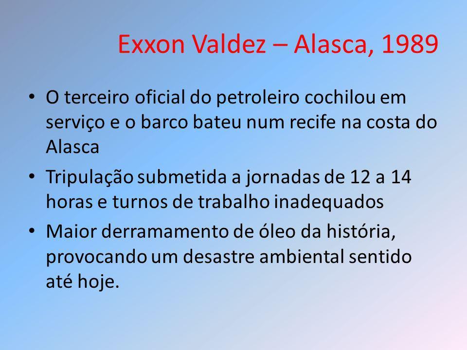 Exxon Valdez – Alasca, 1989 O terceiro oficial do petroleiro cochilou em serviço e o barco bateu num recife na costa do Alasca Tripulação submetida a