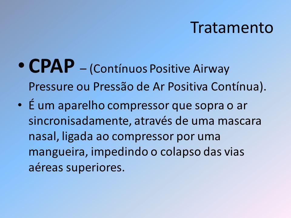 Tratamento CPAP – (Contínuos Positive Airway Pressure ou Pressão de Ar Positiva Contínua). É um aparelho compressor que sopra o ar sincronisadamente,
