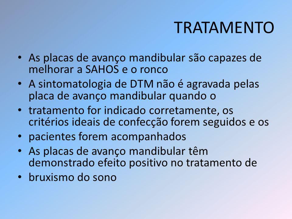 TRATAMENTO As placas de avanço mandibular são capazes de melhorar a SAHOS e o ronco A sintomatologia de DTM não é agravada pelas placa de avanço mandi