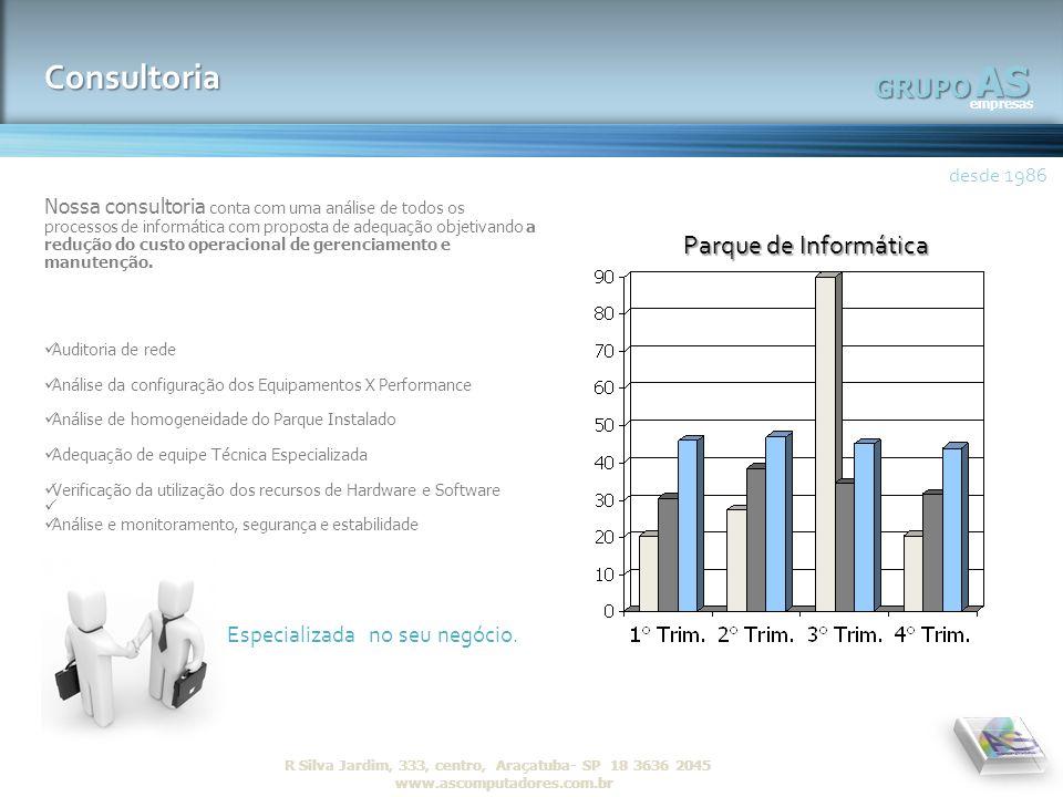 AS empresas GRUPO desde 1986 R Silva Jardim, 333, centro, Araçatuba- SP 18 3636 2045 www.ascomputadores.com.brAS empresas GRUPO Consultoria desde 1986