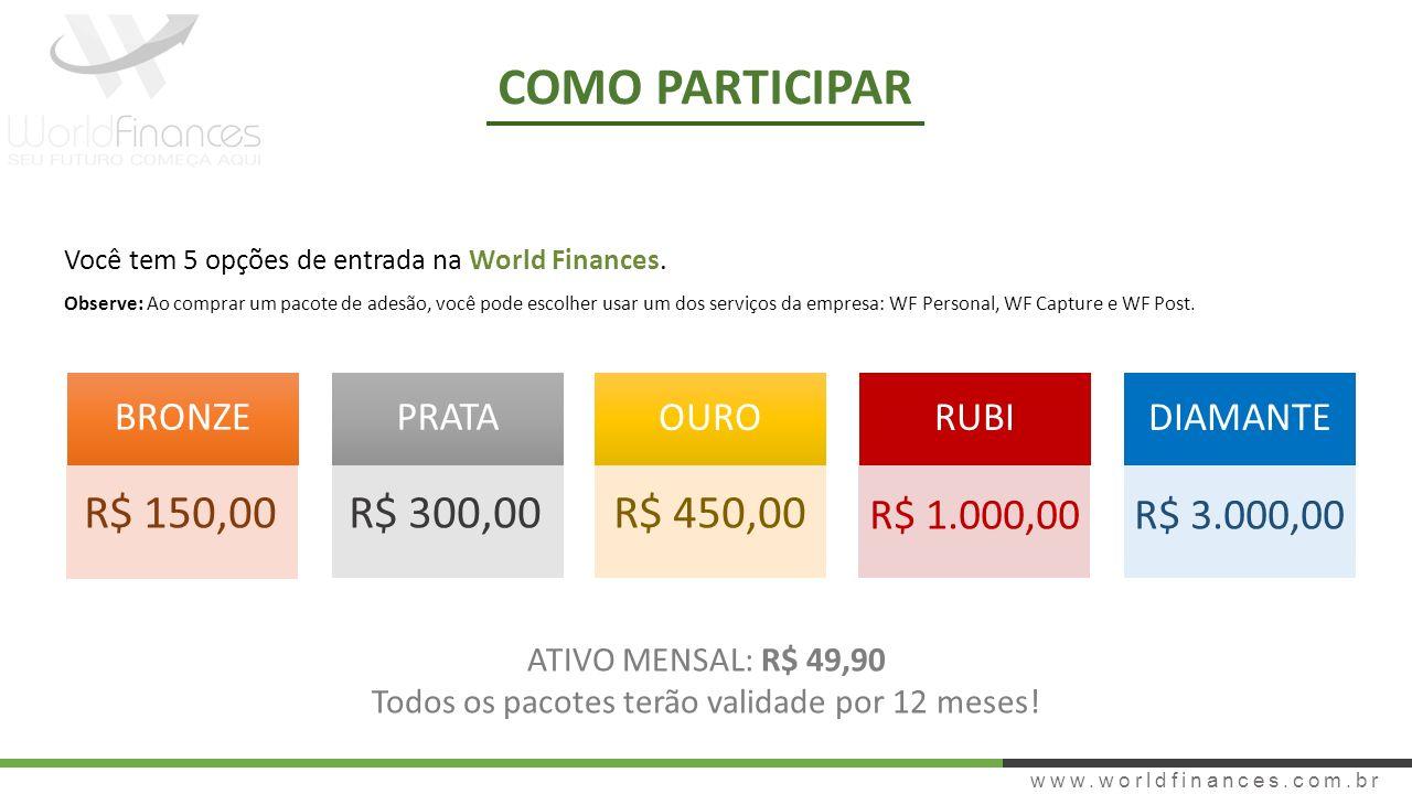 www.worldfinances.com.br COMO PARTICIPAR Você tem 5 opções de entrada na World Finances. Observe: Ao comprar um pacote de adesão, você pode escolher u