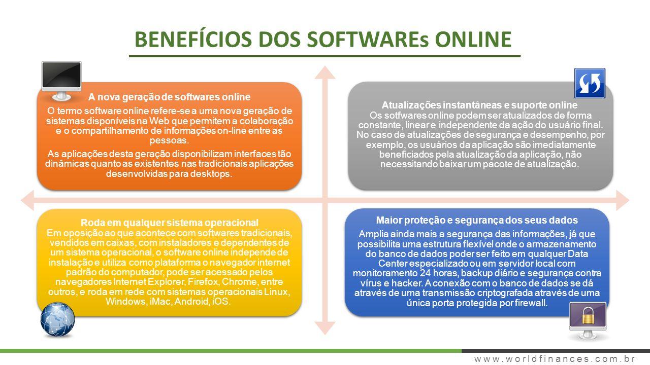 A nova geração de softwares online O termo software online refere-se a uma nova geração de sistemas disponíveis na Web que permitem a colaboração e o compartilhamento de informações on-line entre as pessoas.