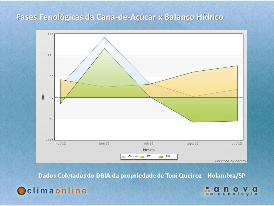 Fases Fenológicas da Cana-de-Açúcar x Balanço Hídrico Dados Coletados do DRIA da propriedade de Toni Queiroz – Holambra/SP