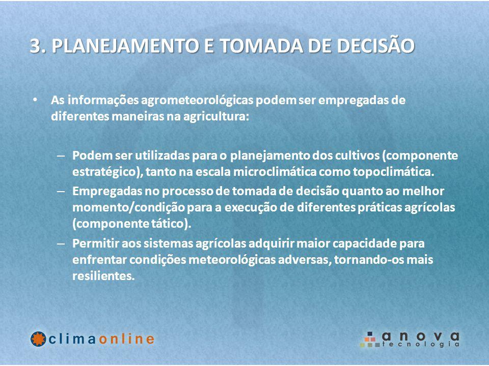 3. PLANEJAMENTO E TOMADA DE DECISÃO As informações agrometeorológicas podem ser empregadas de diferentes maneiras na agricultura: – Podem ser utilizad